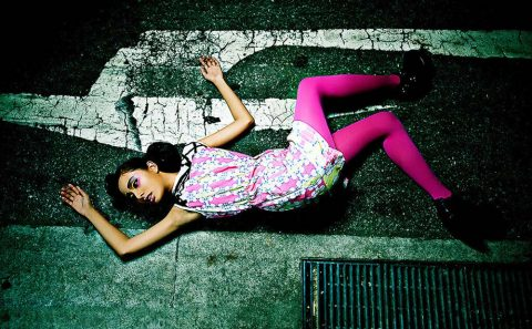 Fashion portrait photography of girl with pink tights lying on the ground, Tuckys Photography