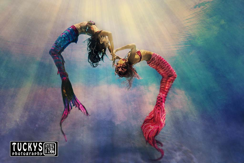 underwater portrait photography for two swimming mermaid, by professional photographer and videographer, tuckys photography