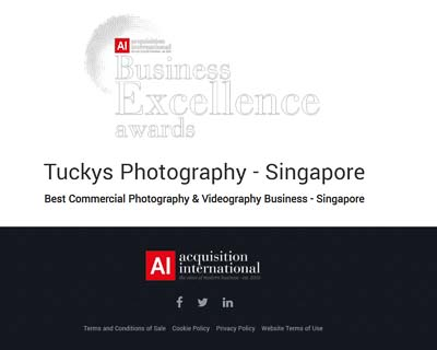 Acquisition International Business Excellence Award Best Commercial photography and videography Business Singapore