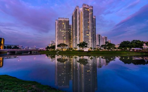 Sunset photos of buildings with water reflections | Tuckys Photography