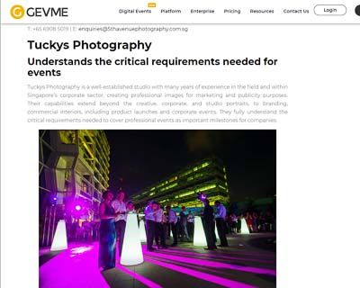GEVME top 5 events photographers singapore