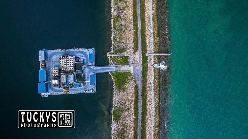 Singapore industrial photographer with an aerial drone photography of water purification at semakau, by tuckys