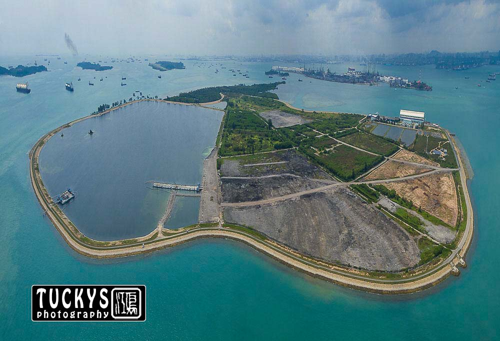 Singapore industrial photographer with aerial photography of Semakau landscape, by tuckys