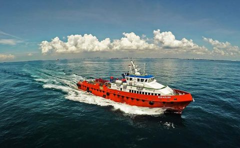 aerial drone shot for marine vessel, Singapore Professional corporate photographer, Tuckys
