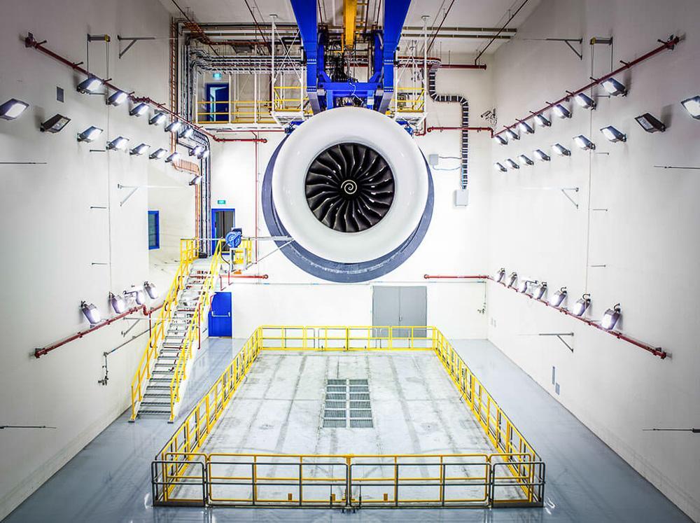 Industrial interior photography for rolls-royce engine blast